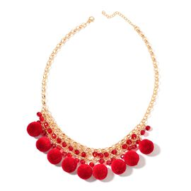 Red Colour Pom Pom Necklace (Size 20) with Simulated Ruby  in Yellow Gold Tone