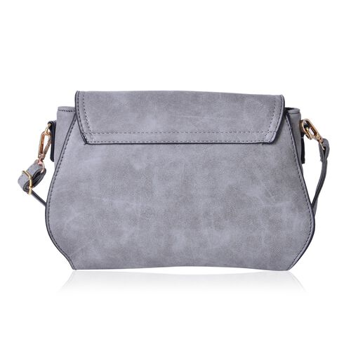 Grey Colour Lipstick Design Lock Crossbody Bag with Adjustable and  Removable Shoulder Strap (Size 26X18X8 Cm)