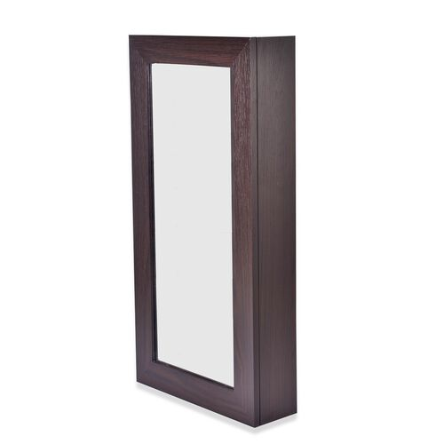 Chocolate Wall Mounted Mirror Wooden Cabinet with Velvet Inside (Size 60X30X9 Cm)
