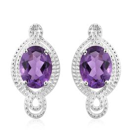Amethyst (Ovl) Earrings (with Push Back) in Sterling Silver 1.250 Ct.