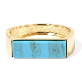Simulated Turquoise Bangle (Size 7) in Yellow Gold Tone