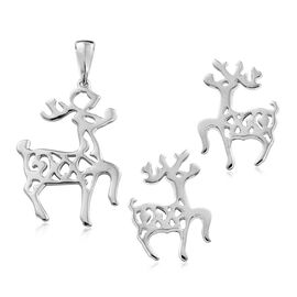 Reindeer Silver Earrings (with Push Back) and Pendant Set in Platinum Overlay, 5.46 Gms.