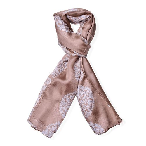 100% Mulberry Silk Brown Colour Tree Printed Scarf (Size 180x110 Cm)