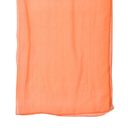 100% Mulberry Silk Orange Colour Scarf (Size 170X60 Cm)