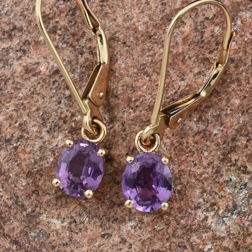 ILIANA 18K Yellow Gold UnHeated Natural Purple Sapphire (Ovl) Lever Back Earrings 1.330 Ct.