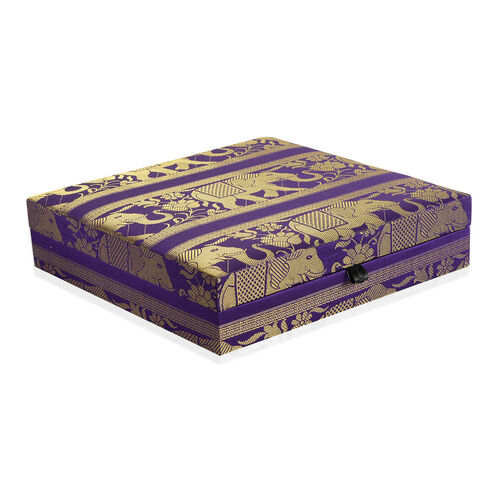 Hand Crafted Eco Friendly - Jacquard Elephant Weave Zari Art Work Purple Colour 100 Slot Ring Box (Size 25.5x25.5x6.5 Cm)