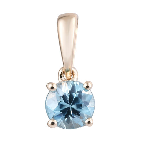 9K Yellow Gold AA Blue Zircon (Rnd) Solitaire Pendant 0.550 Ct.