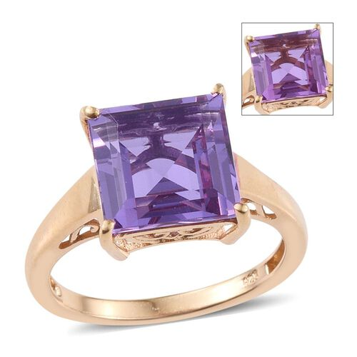 Lavender Alexite (Sqr) Solitaire Ring in 14K Gold Overlay Sterling Silver 4.000 Ct.