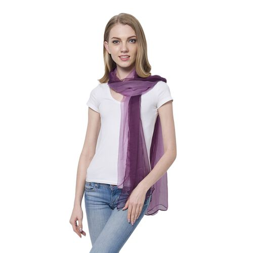 100% Mulberry Silk Gradually Changing Colour Dark and Light Purple Colour Scarf (Size 180x60 Cm)