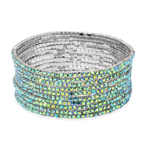 Set of 10 - Designer Inspired - Green Colour Crystal Stretchable Bracelet (Size 7.5) in Silver Tone