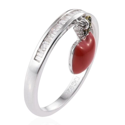 GP White Diamond (Bgt), Green Diamond and Kanchanaburi Blue Sapphire Apple Charm Ring in Platinum Overlay Sterling Silver 0.360 Ct.