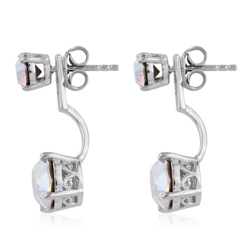 Crystal from Swarovski - AB Crystal (Rnd) Earrings (with Push Back) in Platinum Overlay Sterling Silver