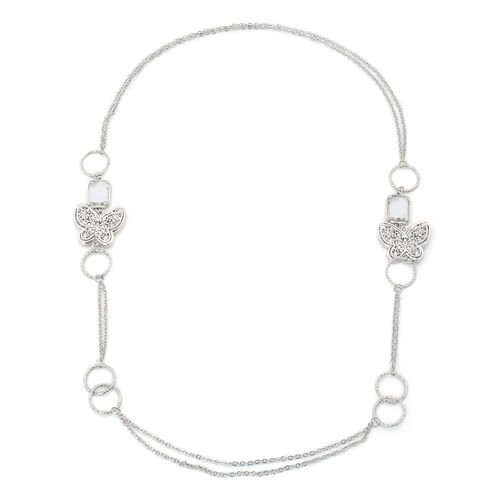 White Glass and White Austrian Crystal Necklace (Size 34) in Silver Tone