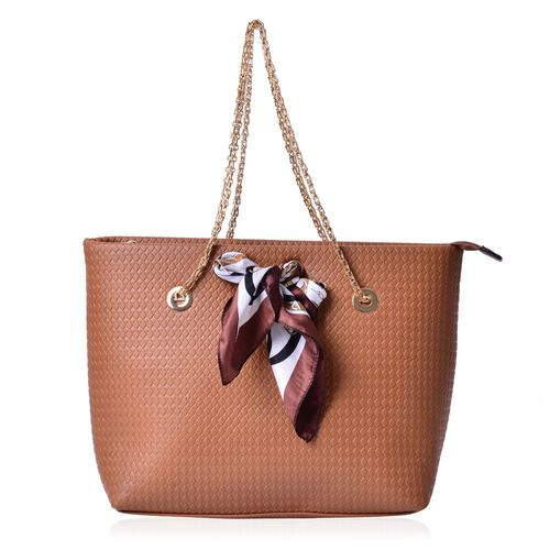Diamond Pattern Tan  Colour Large Tote Bag with Chain Strap and Multi Colour Colour Scarf (Size 44x29x15 Cm, 51x47 Cm)