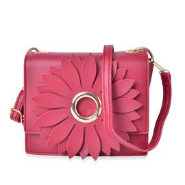 Sunflower Inspired Red Colour Crossbody Bag with Adjustable and Removable Shoulder Strap (Size 19x17x6.5 Cm)