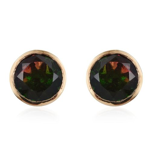 Tourmaline Colour Quartz (Rnd) Stud Earrings (with Push Back) in 14K Gold Overlay Sterling Silver 8.000 Ct.
