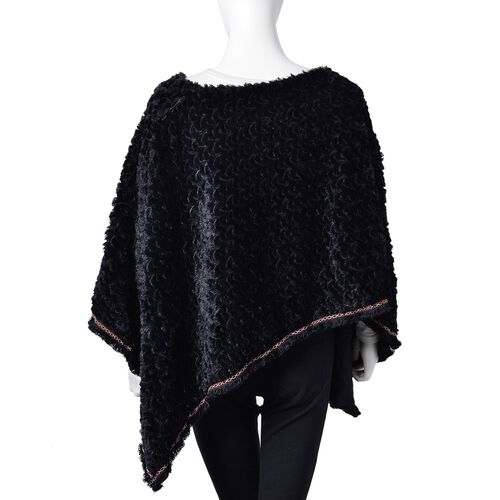 Black Colour Faux Fur Poncho with Multi Colour Lace Border (Size 94X80 Cm)