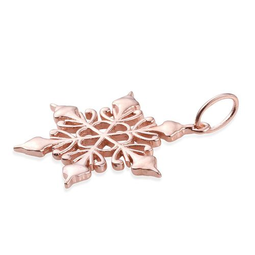 Rose Gold Overlay Sterling Silver Snowflake Pendant, Silver wt 3.38 Gms.