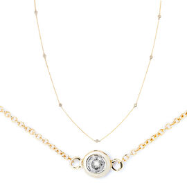 9K Yellow Gold 0.50 Ct Diamond Station Necklace (Size 21) SGL Certified (I3/G-H)