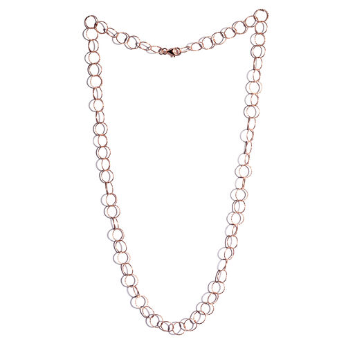 JCK Vegas Collection Rose Gold Overlay Sterling Silver Diamond Cut Open Circle Chain (Size 24), Silver wt 7.01 Gms.
