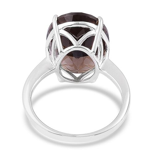 Brazilian Smoky Quartz (Ovl) Solitaire Ring in Rhodium Plated Sterling Silver 8.500 Ct.