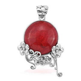 Royal Bali Collection Coral (Ovl) Flower Pendant in Sterling Silver 8.000 Ct.