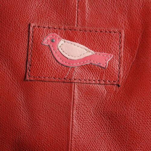 100% Genuine Leather RFID Blocker Red Colour Handbag with External Zipper Pocket and Adjustable Shoulder Strap (Size 36X28X16 Cm)