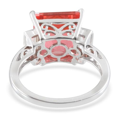 Padparadscha Colour Quartz (Sqr 7.25 Ct), White Topaz Ring in Platinum Overlay Sterling Silver 8.050 Ct.