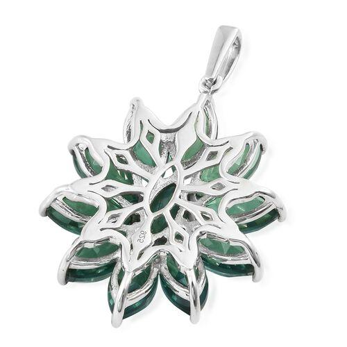 Peacock Quartz (Mrq) Flower Pendant in Platinum Overlay Sterling Silver 15.750 Ct.
