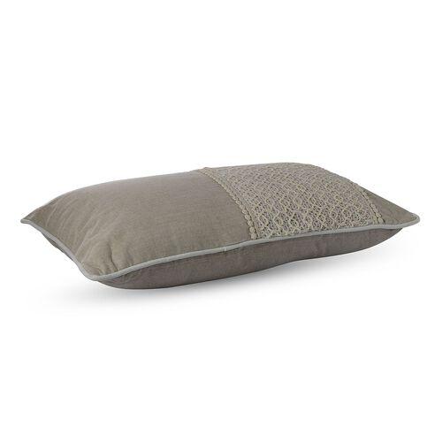 (Option 4) Ivory Beige Colour Net Patch Work Cushion (Size 43x43 Cm)