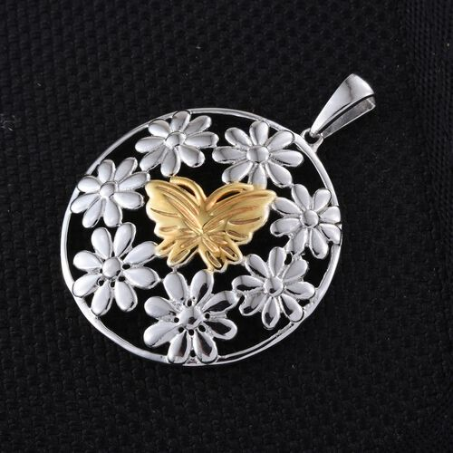Yellow Gold and Platinum Overlay Sterling Silver Butterfly and Floral Pendant, Silver wt 5.01 Gms.