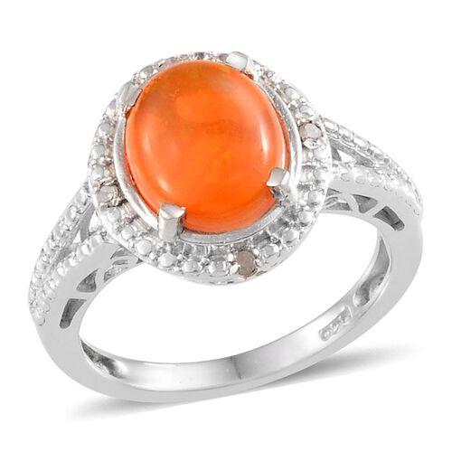 Orange Ethiopian Opal (Ovl 1.50 Ct), Diamond Ring in Platinum Overlay Sterling Silver 1.520 Ct.