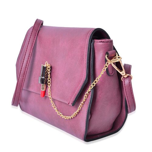 Dark Fuchsia Colour Lipstick Design Lock Crossbody Bag with Adjustable and  Removable Shoulder Strap (Size 26X18X8 Cm)