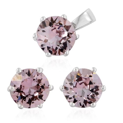 J Francis Crystal from Swarovski - Morganite Colour Crystal (Rnd) Solitaire Pendant and Stud Earrings (with Push Back) in Sterling Silver