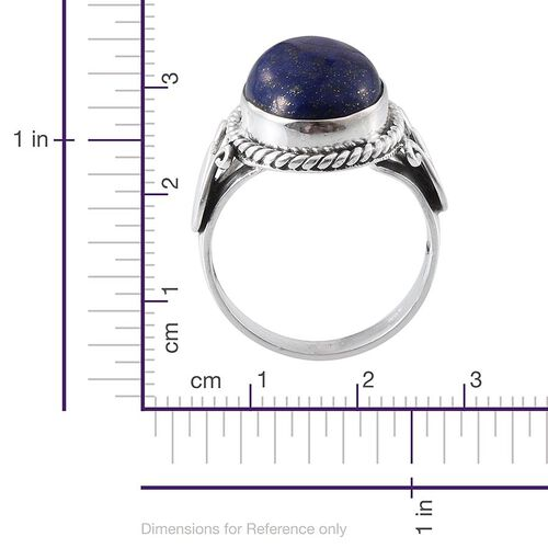 Tribal Collection of India Lapis Lazuli (Ovl) Solitaire Ring in Sterling Silver 9.110 Ct.