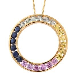 Yellow Sapphire (Rnd), Green Sapphire, Kanchanaburi Blue Sapphire and Pink Sapphire Circle of Life Pendant with Chain in 14K Gold Overlay Sterling Silver 3.000 Ct.
