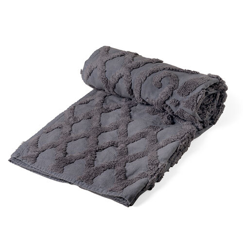 100% Cotton Geometric Pattern Light and Dark Grey Colour Tufted Blanket (Size 200x150 Cm)