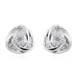 Diamond (Rnd) Love Knot Stud Earrings (with Push Back) in Platinum Overlay Sterling Silver 0.150 Ct.