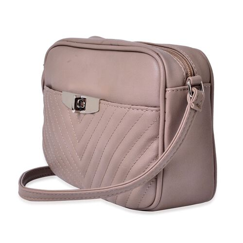 Grey Colour Crossbody Bag with Adjustable Shoulder Strap (Size 23.5x15.5x7 Cm)