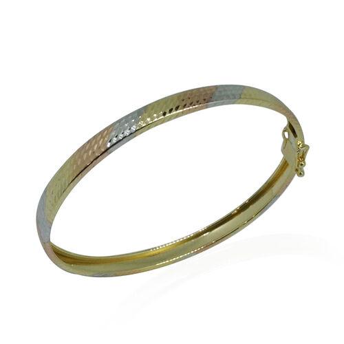 Royal Bali Collection 9K  Gold Tri Colour Diamond Cut Bangle (Size 6 to 7 Inch), Gold wt 3.70 Gms.