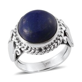 Tribal Collection of India Lapis Lazuli (Rnd) Solitaire Ring in Sterling Silver 8.010 Ct.