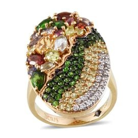 GP Citrine (Ovl), Sky Blue Topaz, Mozambique Garnet, Russian Diopside, Iolite, Rhodolite Garnet, Hebei Peridot and Multi Gem Stone Ring in 14K Gold Overlay Sterling Silver 4.250 Ct.