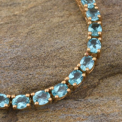 Limited Available-Paraiba Apatite (Ovl) Necklace (Size 18) in 14K Gold Overlay Sterling Silver 30.000 Ct.