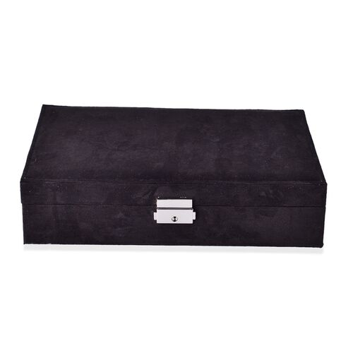 Multi Tier- Velvet Box with Removable Tray for Rings(70-80) and Earrings, Slot for Necklaces, Watches and Other Jewellery. (Size 28x19x6.5 Cm) - Black