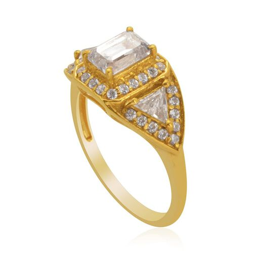 J Francis - 14K Gold Overlay Sterling Silver (Oct) Ring Made with SWAROVSKI ZIRCONIA