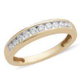 ILIANA 18K Y Gold IGI Certified Diamond (Rnd) Half Eternity Band Ring 0.330 Ct.