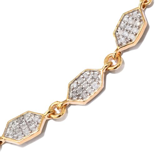 Diamond (Rnd) Adjustable Hexagon Linked Bracelet (Size 6.5 to 8) in 14K Gold Overlay Sterling Silver 0.250 Ct.