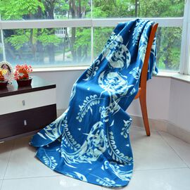 Super Bargain Price-Supersoft Fleece Blanket Allover Print Blue, Green and White Colour (150x210 cm)