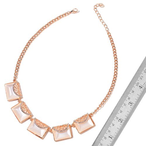 Simulated Cats Eye and White Austrian Crystal Clutch Bag Design BIB Necklace (Size 20 with 2 inch Extender) in Rose Gold Tone