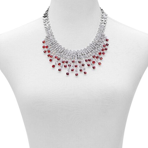 White and Red Austrian Crystal Waterfall Necklace (Size 18) in Silver Tone